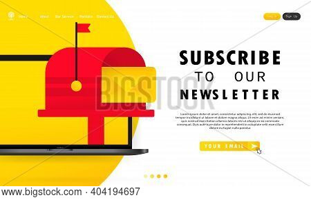 Subscribe To Our Newsletter Banner. Sign Up Form With Envelope