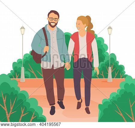 Meeting Of People In Love. Couple Walking Down The Street. Young Bearded Guy In Glasses And Girl Hol