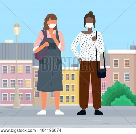 People Wearing Masks Walk In The City To Protect Themselves From Viruses. Women Talking, Walking On