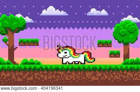 Pixel Unicorn Pixel Game Character Vector, Horse With Colorful Hair. 8 Bit Graphics Pixelated Person