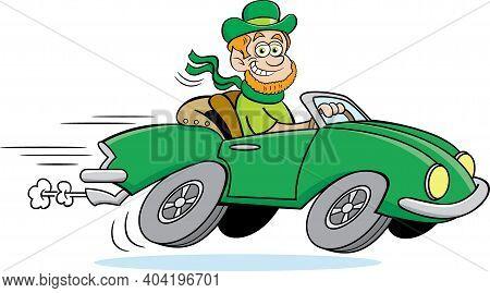 Cartoon Illustration Of A Leprechaun Driving A Fast Little Car.