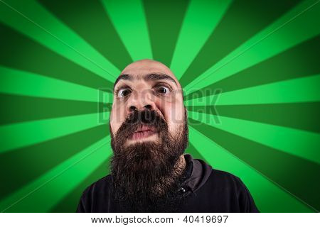 bearded man with funny expression