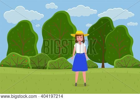 Beautiful Girl In A Straw Hat In Summer Garden. Stylish Portrait Of Young Woman Outdoor Flat Style.