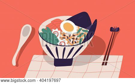 Bowl With Ramen Served With Chopsticks And Spoon. Japanese Noodle Soup With Shrimps, Salmon, Egg, No