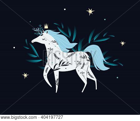 Illustration With White Magic Princess Horse. Dark Mystic Poster, Fairy Card