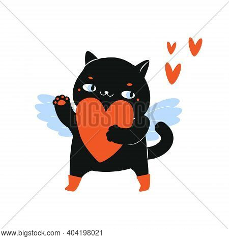 Cartoon Black Cat With Big Heart. Cupid Cat Character For St Valentines Day Theme