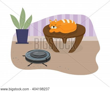 Silent Smart Robot Vacuum Cleaner. The Cat Sleeps Serenely On The Table To The Sound Of The Vacuum C