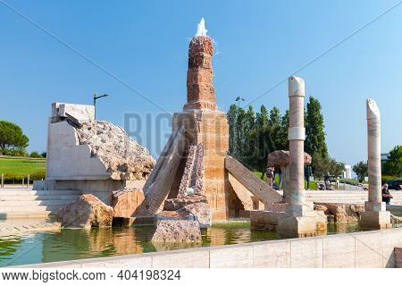 Lisbon, Portugal - August 13, 2017: Monumento Ao 25 De Abril Or Monument To The 25th Of April At Sun