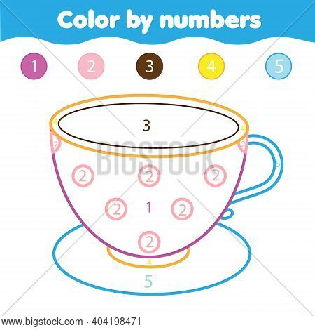 Tea Cup Color By Numbers Educational Game For Elementary Level Kids, Toddlers. Coloring Page For Pre