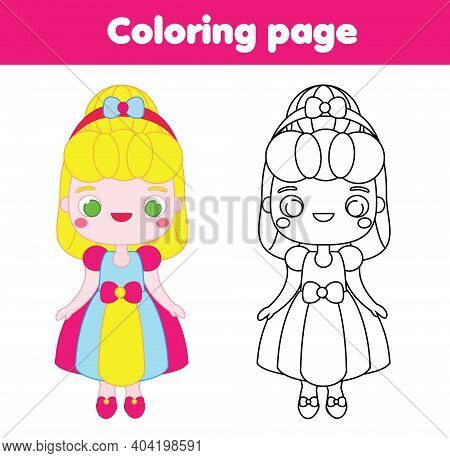 Coloring Page With Cartoon Princess. Drawing Kids Activity. Printable Fun For Toddlers And Children