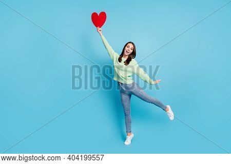 Full Length Body Size Photo Of Funky Female Student Standing Tiptoe Keeping Red Heart Smiling Laughi