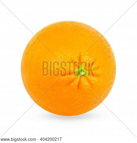 One Whole Orange Isolated On The White With Shadow