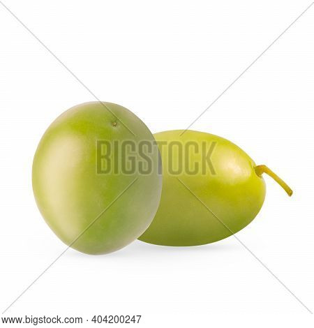 Two Whole Olives Isolated On The White With Shadow