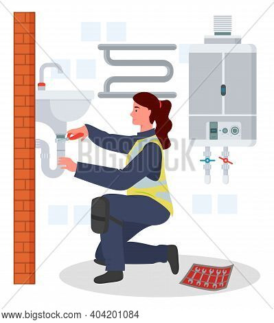 Plumber Woman Repairing Adjusting Fixing Sink Tube Or Pipe In Bathroom, Plumbing Work, Not Female Wo