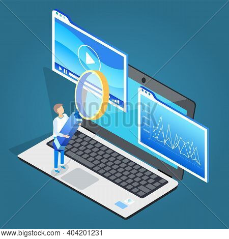 Man Stand On Laptop With Magnifying Glass. Play Multimedia On Electronic Device. Guy Hold Big Hand L