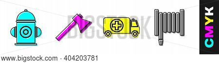 Set Fire Hydrant, Firefighter Axe, Ambulance And Emergency Car And Fire Hose Reel Icon. Vector