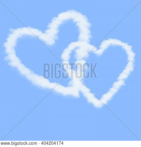 Flat Art Illustration Abstract Background. Doodle Stacked Two Cloud Love Heart On Blue Sky Backgroun