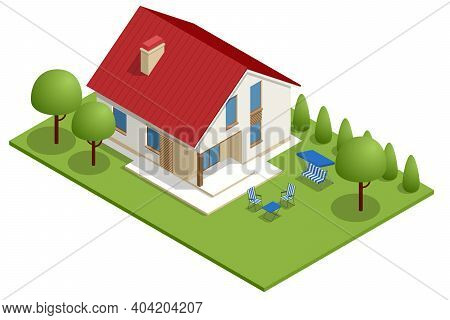 Isometric Apartment House. Building, Cottage, Villa. Modern Cozy House In Chalet Style With Garage F