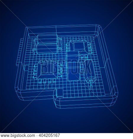 Circuit Board In Case. Electronic Computer Components Motherboard. Semiconductor Microchip, Diode. H
