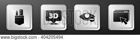 Set Crossed Ruler And Pencil, Speech Bubble With Text 3d, Red Eye Effect And Web Design And Developm