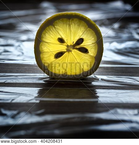 View Of The Transparent Light Of An Lemon Slice
