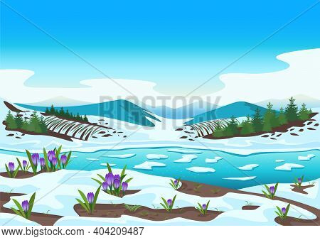 Spring Landscape With River, Mountains, Forest, Fields, Melting Snow And Crocus. Beautiful Spring Ba