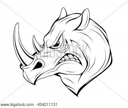 Angry Rhinoceros. Rhino Animal. Sports Mascot. Angry Cartoon Animal. Rhino Head. Dimensional Modelin