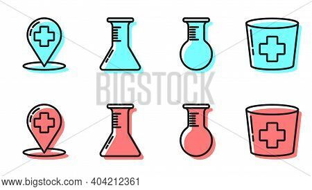 Set Line Test Tube And Flask, Map Pointer With Cross Hospital, Test Tube And Flask And Nurse Hat Wit
