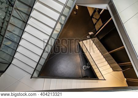 Poznan, Poland - February 15 2020 Top Down View To Small Staircase In Trapeze Shape