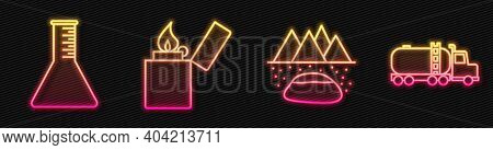 Set Line Oilfield, Oil Petrol Test Tube, Lighter And Tanker Truck. Glowing Neon Icon. Vector