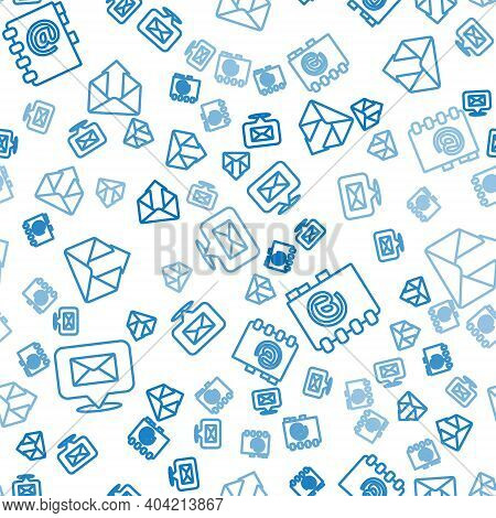 Set Line Speech Bubble With Envelope, Address Book And Outgoing Mail On Seamless Pattern. Vector