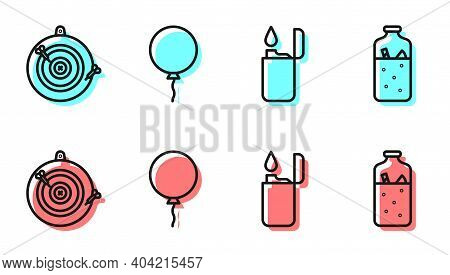 Set Line Lighter, Classic Dart Board And Arrow, Balloon With Ribbon And Mulled Wine Icon. Vector