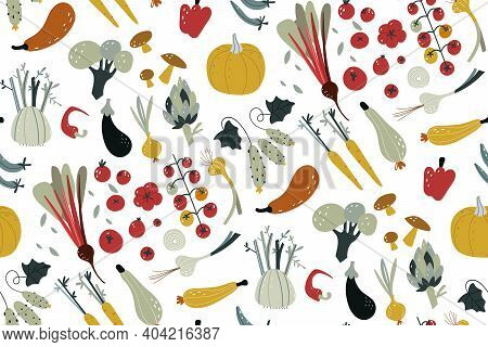 Seamless Pattern With Hand Drawn Colorful Doodle Vegetables. Vegetables Flat Icons Set Cucumber, Car