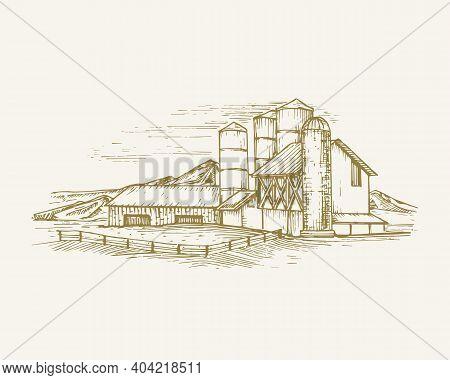 Hand Drawn Rural Buildings Landscape Vector Illustration. Farm With Barns, Grain Elevator And Mounta