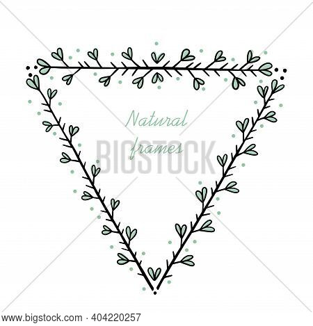 Triangular Frame For Text Decoration In Doodle Style. Natural Style, Branches, Plants, Flowers. Blac