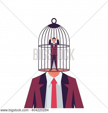 Cage Headed. The Businessman Is Locked In A Birdcage. Opportunities Are Limited. Head Cage, Business