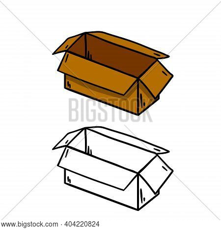 Box. Set Of Cardboard Containers. Objects For Packing And Moving. Empty Package. Parcel And Mail. Ha