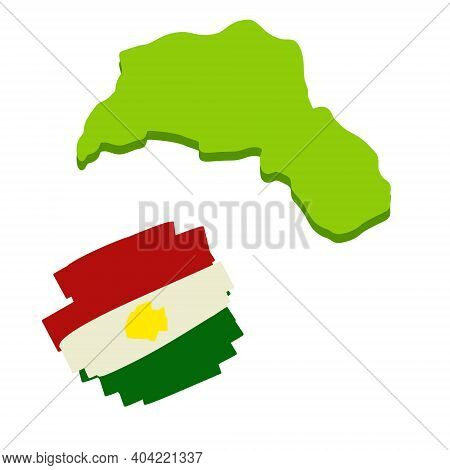 Map Of Kurdistan. The Region Of The Syrian Conflict. Arab Country. Unrecognized State. Red White And