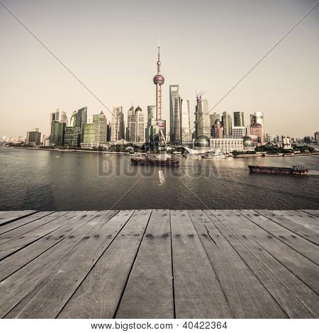 landscape of shanghai with wooden floor