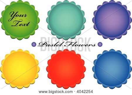 Vector Pastel Flower Buttons
