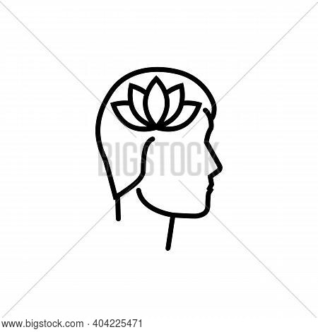 Mental Health Logo. Thead With A Flower Lotus As A Symbol Of Calmness. Psychological Help, Psychiatr