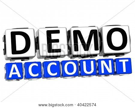 3D Demo Account Button Click Here Block Text