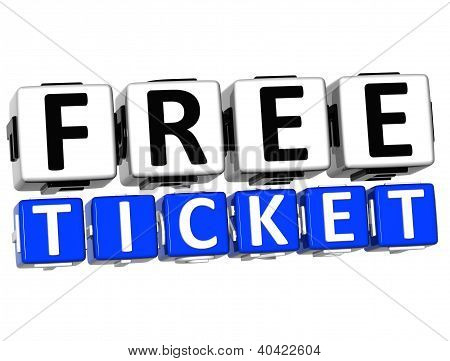 3D Free Ticket Button Click Here Block Text