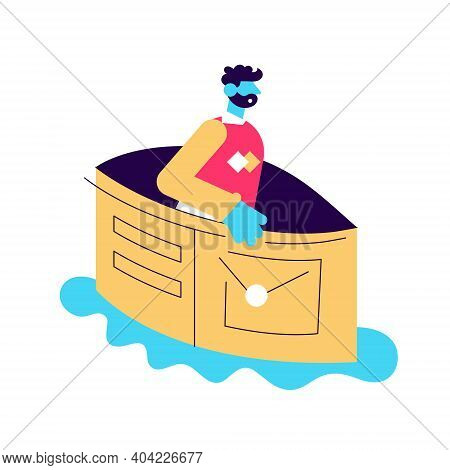 Unhappy Man Floating On Pond In Empty Wallet Vector