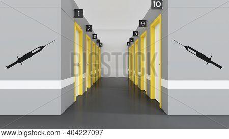 Corona virus vaccination center doors. 3D illustration