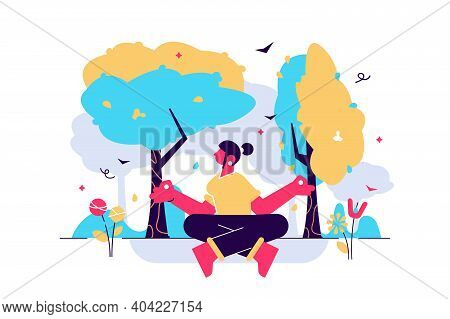 Forest Bathing Vector Illustration. Nature Therapy Flat Tiny