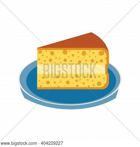 Homemade Cream Pie Slice On Plate Flat Vector Icon. Sweet Dessert Food Cute Cartoon Design Element.
