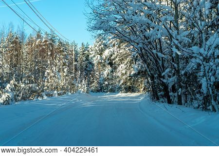 Snow-covered Road In The Forest On A Sunny Clear Day