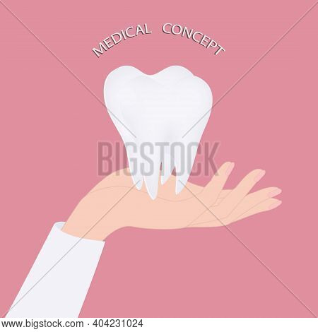 Tooth Root In The Palm Of The Doctor - Vector. Happy Dentist Day. International Day Of The Dentist.