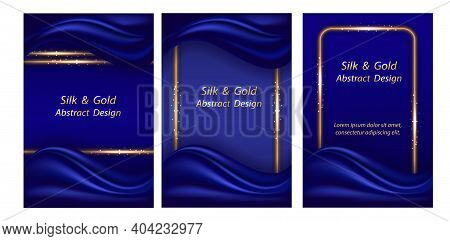 Luxury Background With Blue Silk Wave And Golden Glowing Borders, Smooth Realistic Deep Blue Satin T